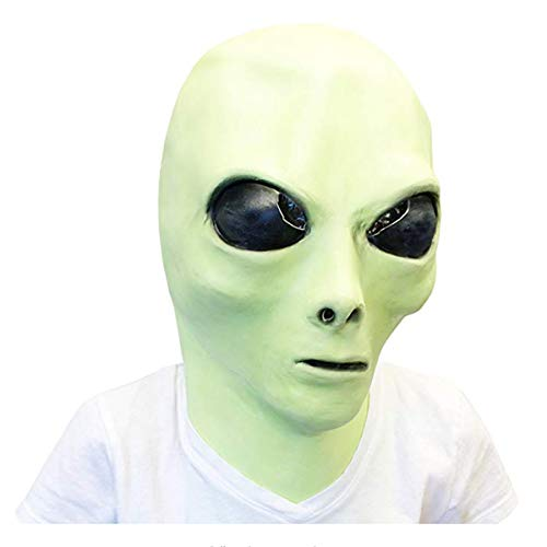 Alien Latex Mask Glow in The Dark Green Face Novelty Full Head Party Costumes Halloween