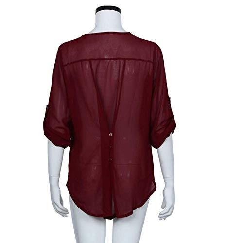 Donne Casual Camicette Qiusa Large Rosso Camicetta Delle colore In Chiffon Manica Dimensione Top Lunga Allentata ppvRS