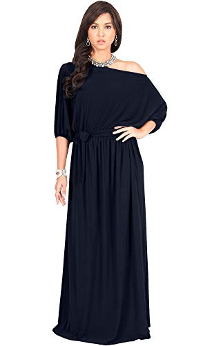 KOH KOH Womens Long Sexy One Off Shoulder Flowy Casual 3/4 Short Sleeve Cocktail Wedding Party Guest Maternity Gown Gowns Maxi Dress Dresses, Dark Navy Blue L 12-14