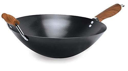 Ecolution EHKDW-9136 Hong Kong Chopstick House Carbon Steel 14'' Dark Woodgrain Finish H Non-Stick Wok, Black