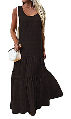 Solid Pleated Women Maxi Casual Dress Sundress Black Swing Sleeveless Domple vY7qw4w