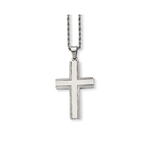 Apples of Gold Stainless Steel Laser Cut Cross Necklace