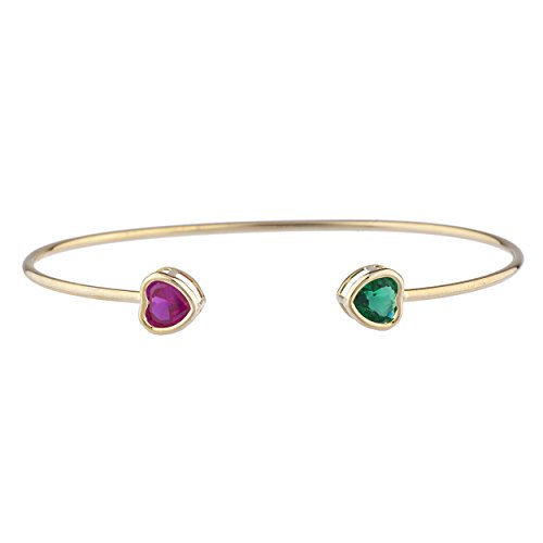 Created Ruby & Simulated Emerald Heart Bezel Bangle Bracelet 14Kt Yellow Gold Plated Over .925 Sterling Silver (Silver Bangles Ruby)