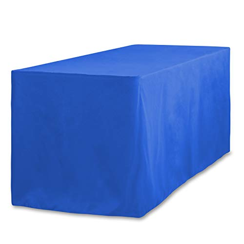 LinenTablecloth 6 ft. Fitted Polyester Tablecloth Royal Blue (Tailored Dining Rectangle Table)
