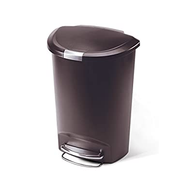 simplehuman Semi-Round Step Trash Can, Mocha Plastic, 50 L / 13 Gal