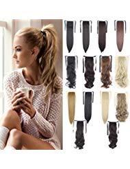 DODOING - Extensión para coleta de pelo sintético, 45,72 cm / 55,88 cm, Light Brown-curly, 18'