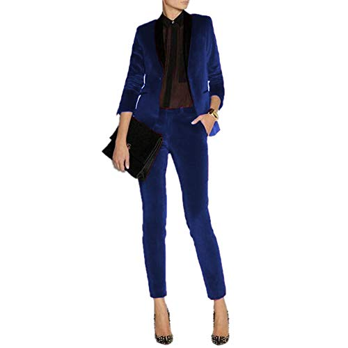 Velvet Pant Suit - JYDress Women's Velvet Pant Suits Set Ladies Business Office Tuxedos Formal Work Wear Royal Blue