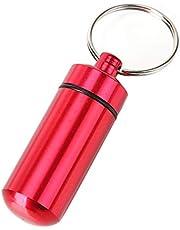 BIYI Mini pastillero impermeable Llaveros Llavero de metal Almacenamiento Botella de medicina sellada Llavero Botellas portátiles de viaje al aire libre (rojo) ()