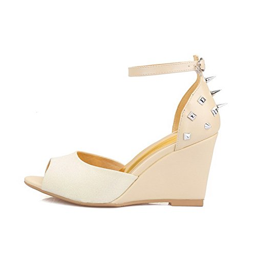AmoonyFashion Womens Open Toe Buckle Pu Solid High Heels Sandals Apricot te6WD5
