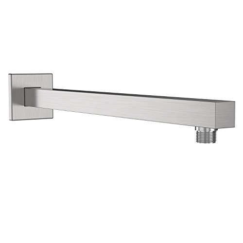EMBATEHR Extra Long and Thicken Brass 16 Inch Shower Extension Arm,Brushed Nickel Universal Shower Straight Wall-Mounted Shower Arm with Flange for 10''/12''/16''/18