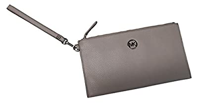 Micheal Kors Fulton Leather Large Zip Clutch Wristlet Cement