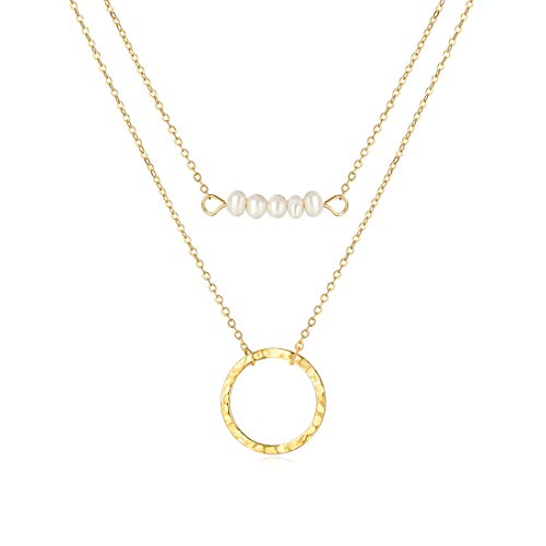 - SEAYII Women Pearl Choker Necklace Gold 2 Layered 5 Pearl Bar Karma Open Circle Double Side Hammered New Moon Pendant 14K Gold Fill Dainty Chain Boho Simple Delicate Handmade Gold Jewelry Gift