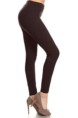 LDR128-Brown Basic Solid Leggings, One Size
