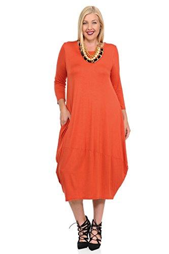 (Pastel by Vivienne Women's Cocoon Midi Dress Plus Size X-Large Rust)