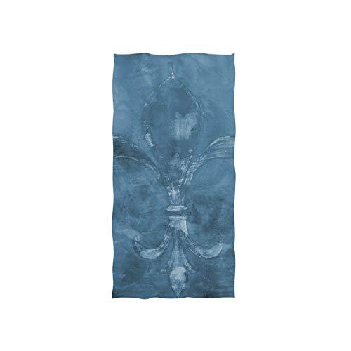 Fleur De Lis Spa - Vintage Blue Fleur De Lis Hand Towels for Bathroom, Gym, Beach and Spa