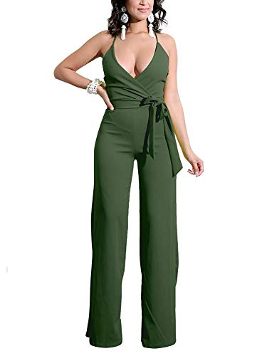 Dreamparis Women's Sexy Deep V Neck Wide Leg Jumpsuits Wrap Backless High Waist Sleeveless Belted Flare Rompers Large Army Green (Wrap Jumpsuit)
