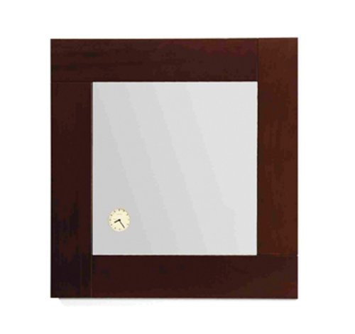 Whitehaus AMET01-EBONYWO Antonio Miro 23 5/8-Inch Square Mirror with Iroko Wood Frand Built-In Clock, Ebony Wood ()