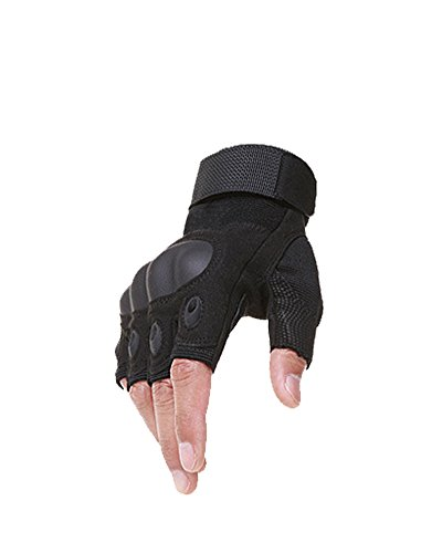 Nachvorn Fingerless Tactical Gloves Rubber Hard Knuckle Gloves Cycling Gloves Half Finger Gloves,Black,S
