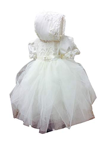 - Faithclover Christening Dresses for Baby Girls Tutu Tulle Long Beaded Baptism Gowns with Bonnet
