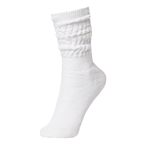 BRUBAKER Womens Or Mens Fitness Workout Slouch Socks Gym White EU39-42 / US6.5-10