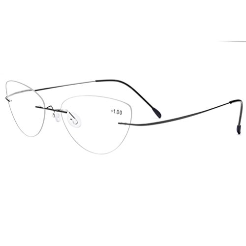 Ultralight Titanium Rimless Reading Glasses Readers Men Women (Black, - Glasses Reading Titanium Rimless