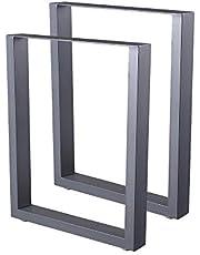 Zelsius Tafelpoten, Tafelonderstel, Metalen U-poten van ruw staal of grijs, verschillende afmetingen, industriële look, 2 stuks