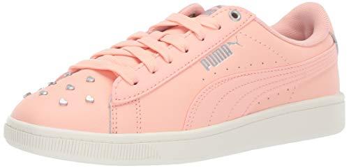 PUMA Women's Vikky Sneaker, Peach Bud Silver-Whisper White, 6 M US