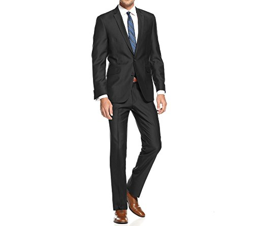 Braveman Mens Slim Fit Single Breasted 2 Piece Suit, Black, Size 52L/46W