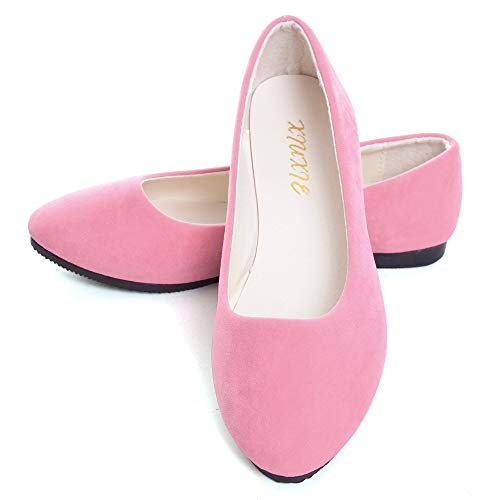 (Dear Time Women Flat Shoes Comfortable Slip on Pointed Toe Ballet Flats US 6.5 Light Pink)