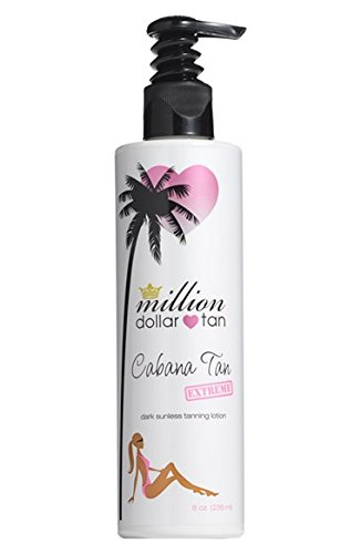 Dark Sunless Tanning Lotion- Cabana Tan Extreme by Million Dollar Tan- Self Tan in Minutes, Made with Organic Ingredients Naturally Dark Tanning Lotion