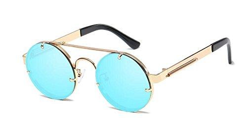 style Glacier en métallique du inspirées Bleu rond lunettes cercle vintage retro soleil Lennon de polarisées qgwn6fX
