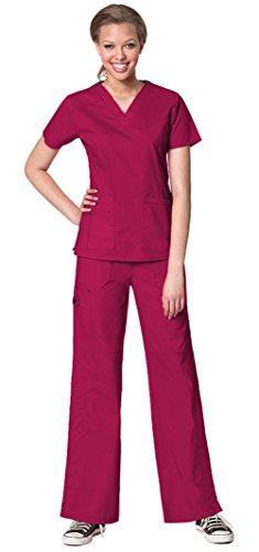 (WonderWink Women's WonderFlex Verity V-Neck Top 6108 and WonderFlex Faith Multi Pocket Cargo Pant 5108 Scrub Set (Crimson - Large))