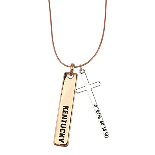 Two Tone Bar Drop Cross Pendant Snake Chain Long Necklace 27