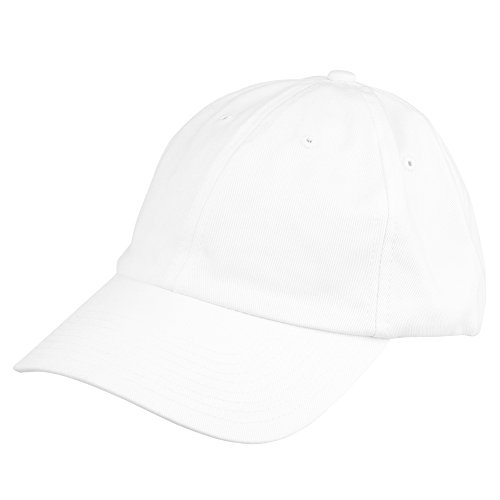 Ball Cap White (Dalix Unisex Unstructured Cotton Cap Adjustable Plain Hat, White)