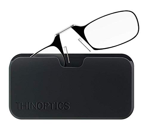 ThinOptics Reading Glasses + Black Universal Pod Case   Classic Collection, Black Frames, 1.00 Strength - Amazon Bookstore Featured Product from ThinOptics