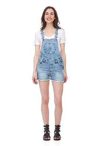 (Suko Jeans Classic Denim Overall Shorts for Women 66920 Denim X-Small)