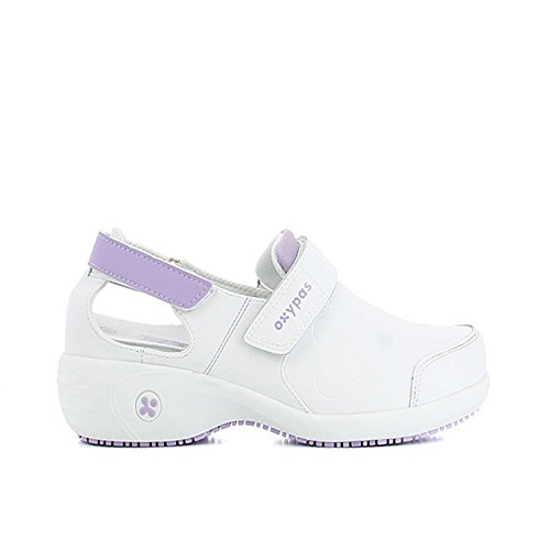 Oxypas Move Up Salma Slip-resistant, Antistatic Nursing Shoes, White/Purple (Liliac), 7 UK (41 EU)