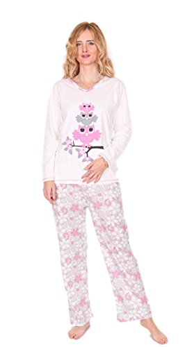 Kartex Women's Long Sleeve V-Neck Pajamas Set (Owl, X-Large) EU:XX-Large (Owl Yours Pajamas)