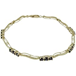 "14k Solid Gold 7"" Bracelet with Natural Sapphires & Diamonds"