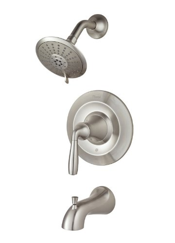 (Pfister G89-8TR Iyla Tub and Shower Trim Package with Multi-Function Shower Head, Brushed Nickel)