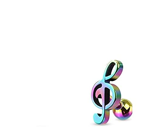 Treble Clef Music Note Tragus/Cartilage Piercing Stud 16g (Rainbow) (Music Note Cartilage)