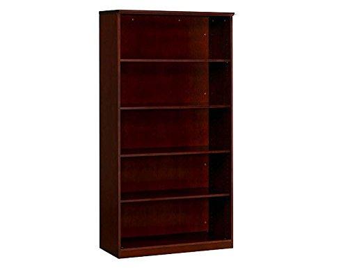 Corsica Five Shelf Bookcase Mahogany Finish on Walnut Veneer Dimensions: 36