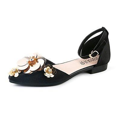 LvYuan sandalias de fiesta suelas de cuero sintético de luz de verano&vestido de noche talón plano ocasional apliques caminar Black