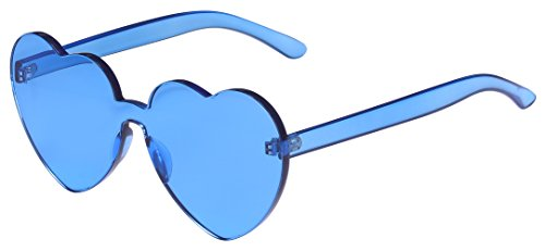 One Piece Heart Shaped Rimless Sunglasses Transparent Candy Color Eyewear(Blue) -