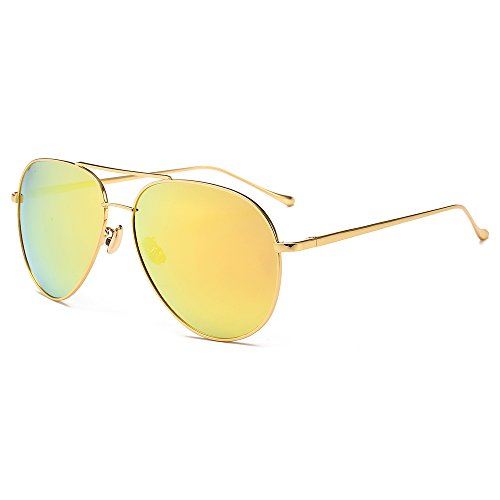 SUNGAIT Women's Lightweight Oversized Aviator sunglasses - Mirrored Polarized Lens Gold Frame/Yellow Mirror Lens 1603 JKH