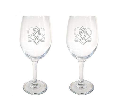 Celtic Love Knot Clear Wine Glass Set of Two - Free Personalized Engraving