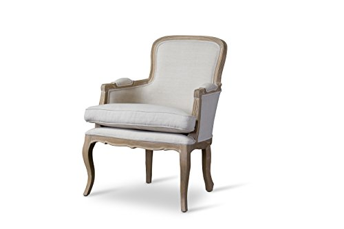 French Accent Chair - Baxton Studio Napoleon Traditional French Accent Chair, Oak