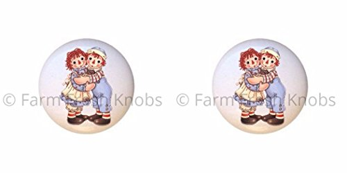 SET OF 2 KNOBS - Hugs - Raggedy Ann and Andy - DECORATIVE Glossy CERAMIC Cupboard Cabinet PULLS Dresser Drawer KNOBS