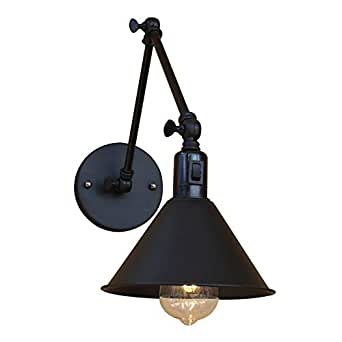 Industrial Black Wall Mount Adjustable Swing Arm Lamp Wall