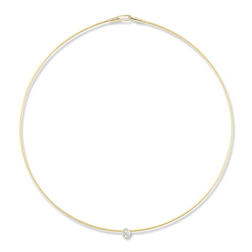 I REISS 14K Yellow Gold 0.06ct TDW Diamond Accent Spring Wire Necklace ()